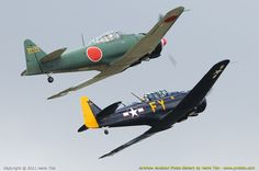 Mitsubishi A6M Zero & North American AT6G Texan  -  Sanicole Airshow 2011