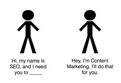 Der Unterschied von #ContentMarketing und #SEO und wie die beiden Bereiche zusammenspielen.