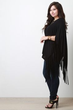 7fc7be5ffd4 Plus Size Fringe Accent Poncho Top Poncho Tops