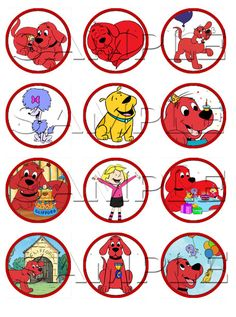 Clifford the Big Red Dog Edible Cupcake Toppers by ItsEdible, $6.00