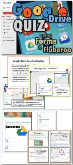 • This Product Includes a Google Form Quiz, Answer Key and Step-by-Step instructions for sharing the Quiz with students and using Flubaroo to grade the quiz • Investigating or quizzing students about Google Drive • It covers Docs, Sheets, Slides, Forms and Drawings