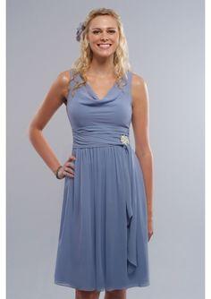 Simple elegant Chiffon Cowl Neckline A-Line short bridesmaid dress