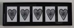 Five Hearts in a Row (black fine liner) by Leigh Ellen Williams - leighwatessential@live.com
