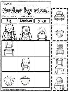 Goldilocks and the three bears size sort. by Eye Popping Fun Resources Bear Activities Preschool, Preschool Prep, Preschool At Home, Preschool Themes, Kindergarten Literacy, Fairy Tale Theme, Fairy Tales, Goldilocks And The Three Bears, Bear Theme