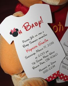 Minnie Mouse Onesie Baby Shower Invitation