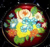 Vintage Floral Red Domed Glass Horse Bridle Rosette