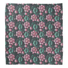 Pink Lotus Motif Elegant Floral Pattern Bandana