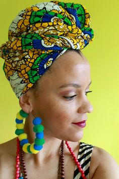 African Headwraps for women #headwrap #turbante #turban #naturalhair #protectivestyle #colorful #africanprints