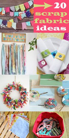 "Welcome to Main Ingredient Monday! 1 Main Ingredient + Tons of Creativity = 20 ""New"" and amazing projects I have TONS of cute fabric scraps I can't bear to get rid of. I hardly even sew and I still..."