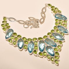 Amazing Swiss Blue Topaz With Faceted Peridot - 925 Silver Jewelry Necklace #Unbranded #Choker