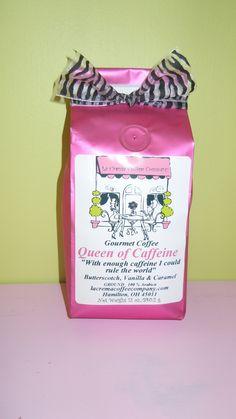 Queen of Caffeine ground coffee from La Crema Coffee Company. We LOVE La Crema Coffee Company!