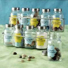 Vacation memories in spice jars. Sand from all the beaches we've been to!