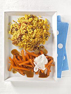 Karamell-Möhren mit Couscous   Möhren enthalten im Vergleich zu anderen Gemüsesorten besonders viele Ballaststoffe. Zusammen mit Couscous und Rosinen beugen sie Verstopfungen vor.