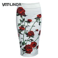 Vestlinda vintage mujeres falda lápiz de cintura alta blanco patrón midi bodycon ladies impresión floral de la falda delgada de la cadera falda lápiz