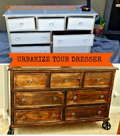 trashy tuesday turn a country style dresser into a vintage industrial style dresser using stain and vintage industrial casters