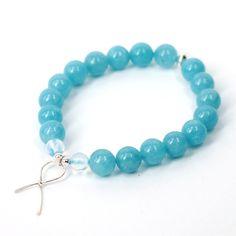 Blue Ribbon Awareness Bracelet (Aquamarine) Stretch Bracelets, Beaded Bracelets, Awareness Ribbons, Blue Ribbon, Handmade Sterling Silver, Silver Beads, Rose Quartz, Bridal Jewelry, Opal