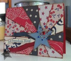 Cool 4th of July starburst card. I like how the starburst design goes all the way around instead of just on top of the card.