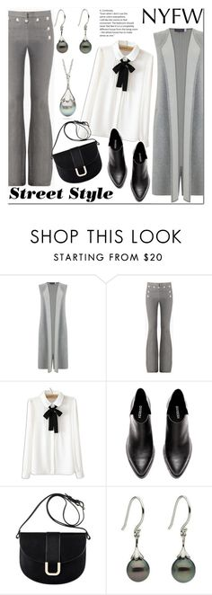 """""""NYFW Street Style: Day Two"""" by littlehjewelry ❤ liked on Polyvore featuring Mint Velvet, WithChic, A.P.C., StreetStyle, NYFW, contestentry, pearljewelry and littlehjewelry"""