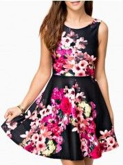 Remarkable Round Neck Floral Printed Skater-dresses