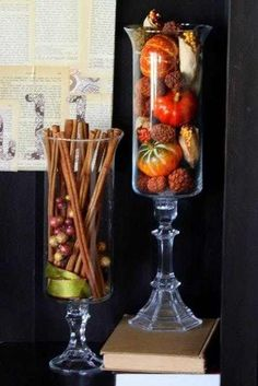 Bring Autumn into your home with simple items like cinnamon sticks and small gourds and pumpkins#Rhode Island
