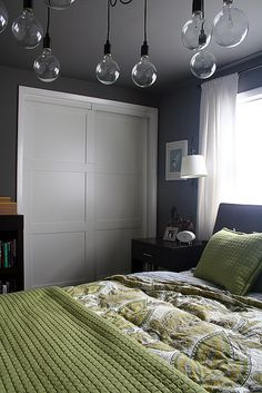 gray and green bedroom. i like the color scheme | for the home