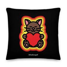 Kissen • Katze mit Herz – gelb, orange, rot, schwarz • Design Minnie Mouse, Disney Characters, Fictional Characters, Samba, Orange, Peace Dove, Pillow Design, Unique Gifts, Ghosts