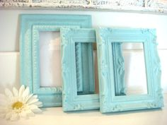 shabby chic frames, frame collection, tiffany blue frames, upcycled frames, ornate frames, 4x6 frame. $29.00, via Etsy.