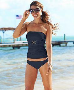 MICHAEL Michael Kors Swimsuit, Bandeau Tankini Top & Solid Hipster Brief Bottom - Womens Swimwear - Macy's