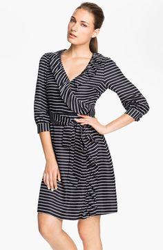 kate spade new york 'daniella' stripe silk wrap dress