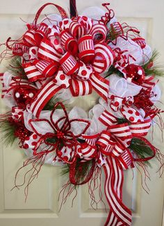 Candy Cane Mesh Christmas Wreath