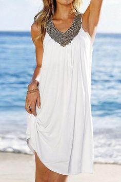 Beaded Neckline Sleeveless Shift Beach Dress