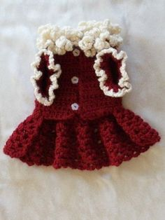 XMAS CHRISTMAS CROCHETED PET DOG CLOTHES APPAREL SWEATER DRESS COAT WINE XXS!!