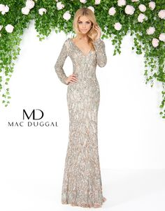 Mac Duggal - Long Sleeve V-Neckline Fitted Sequin Dress Prom Dress Mermaid Prom Dresses Lace, Sequin Prom Dresses, Gala Dresses, Couture Dresses, Sequin Dress, Homecoming Dresses, Bridesmaid Dresses, Formal Dresses, Wedding Dresses
