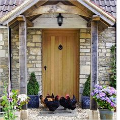 External solid oak doors are made from our own kiln dried oak and made to the highest standards. Cottage Front Doors, Front Door Porch, Porch Doors, Cottage Door, Wood Front Doors, Oak Doors, Entrance Doors, House Front, Windows And Doors