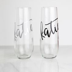 Pop the bubbly, our stemless champagne flutes are perfect bridesmaid gifts! These are also lovely for bridal showers, bachelorette parties, or rehearsal dinners. Wonderful gifts for anyone! Names are