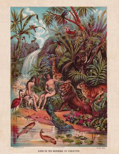 vintage Christian print of the Garden of Eden, with Adam and Eve, vintage printable digital image