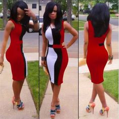 Red Sleeveless Body con Dress