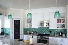 Green kitchen tiles (via Design Mom) Teal Kitchen, Country Kitchen, Kitchen Decor, Neutral Kitchen, Kitchen Backsplash, Kitchen Cabinets, Subway Backsplash, Backsplash Ideas, Subway Tiles