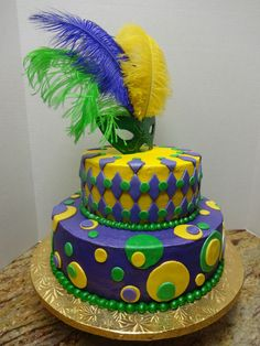 Margi Gras Mask Cake ~ all edible (except the feathers ...as someone pointed out ) and so colorful!