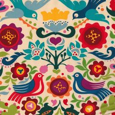 LAMINATED cotton fabric by the yard - Sold by the yard - La Paloma tea - Alexander Henry - Approved for children Art And Illustration, Pattern Art, Pattern Design, Textures Patterns, Print Patterns, Laminated Cotton Fabric, Scandinavian Folk Art, Arte Popular, Mexican Art