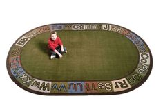 Alpha Circle Time ABC Rug With EARTH TONE Colors