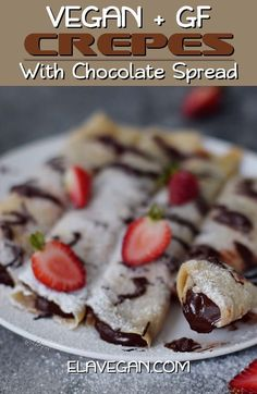 Vegan crepes with a low-fat chocolate spread filling! These thin pancakes are egg-free and perfect as a decadent breakfast or dessert. The recipe is plant-based (dairy-free), gluten-free, refined sugar-free, pretty healthy, and easy to make. #vegancrepes #crepes #glutenfreecrepes #vegandessert #veganbreakfast #elasrecipes   elavegan.com