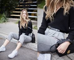 Get this look: http://lb.nu/look/8448197  More looks by Gabrielle L.: http://lb.nu/dentelleetfleurs  Items in this look:  Topshop V Knit, Topshop High Waisted Pants, Vans High Tops, 3.1 Phillip Lim Messenger   #casual #minimal #preppy