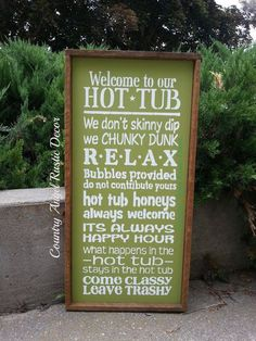 Welcome to the HOT TUB Rustic distressed Typography/Subway wood sign Hot tub sign, Outdoor Sign, Deck Sign, Backyard Sign, funny Hot Tub Patio, Hot Tub Garden, Backyard Signs, Outdoor Signs, Outdoor Stuff, Backyard Ideas, Hot Tub Accessories, Hot Tub Room, Hot Tub Time Machine