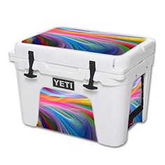 MightySkins Protective Vinyl Skin Decal for YETI Tundra 35 qt Cooler wrap cover sticker skins Rainbow Waves ** You can find more details by visiting the image link.(This is an Amazon affiliate link and I receive a commission for the sales)