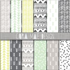 """Mint & Yellow Scheme Digital Prints. 12x12"""". Instant download by CoraMaeDesigns, $2.49"""