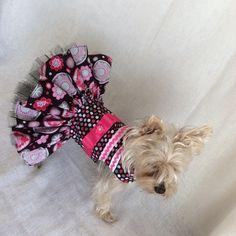 Pink-Black Ruffle Tutu Dog Dress