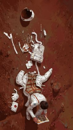 Astronaut experiencing an out of suit moment with a comic book