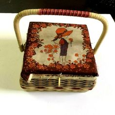Small Wicker Sewing Basket with Lid Decor Handmade Woven Square Storage Plastic | eBay