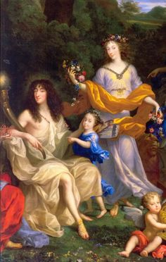 Philippe d'Orleans, Monsieur, his wife Henriette-Anne of England, Minette, and their daughter Marie-Louise between them: detail of The Family of Louis XIV by Jean Nocret (Chateau de Versailles) Louis Xiv, French History, Art History, Versailles, Charles Ii Of England, Ludwig Xiv, French Royalty, Family Painting, Historical Art